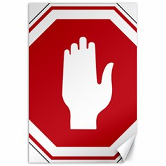 Road Sign Stop Hand Finger Canvas 20  X 30   by Alisyart
