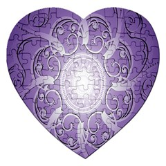 Purple Background With Artwork Jigsaw Puzzle (heart) by Alisyart