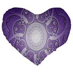 Purple Background With Artwork Large 19  Premium Flano Heart Shape Cushions by Alisyart