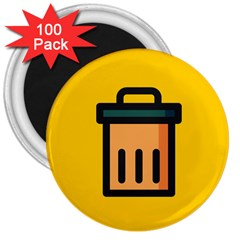 Trash Bin Icon Yellow 3  Magnets (100 Pack) by Alisyart