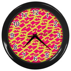 Typeface Variety Postcards Unique Illustration Yellow Red Wall Clocks (black) by Alisyart