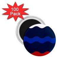 Wave Line Waves Blue White Red Flag 1 75  Magnets (100 Pack)  by Alisyart