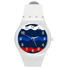 Wave Line Waves Blue White Red Flag Round Plastic Sport Watch (m) by Alisyart
