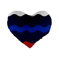 Wave Line Waves Blue White Red Flag Standard 16  Premium Flano Heart Shape Cushions by Alisyart