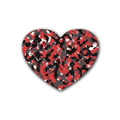 Spot Camuflase Red Black Rubber Coaster (heart)  by Alisyart