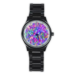 Abstract Trippy Bright Sky Space Stainless Steel Round Watch by Simbadda