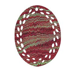 Scaly Pattern Colour Green Pink Oval Filigree Ornament (two Sides) by Alisyart