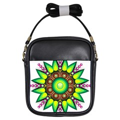 Design Elements Star Flower Floral Circle Girls Sling Bags by Alisyart