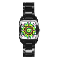 Design Elements Star Flower Floral Circle Stainless Steel Barrel Watch by Alisyart