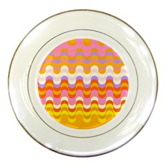 Dna Early Childhood Wave Chevron Rainbow Color Porcelain Plates by Alisyart