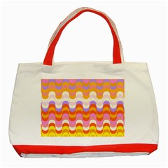 Dna Early Childhood Wave Chevron Rainbow Color Classic Tote Bag (Red) by Alisyart