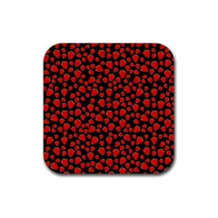 Strawberry  Pattern Rubber Square Coaster (4 Pack)  by Valentinaart