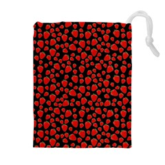 Strawberry  Pattern Drawstring Pouches (extra Large) by Valentinaart