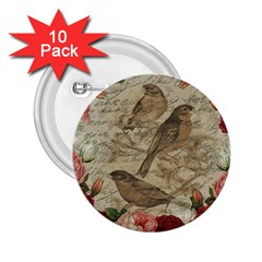 Vintage Birds 2 25  Buttons (10 Pack)  by Valentinaart