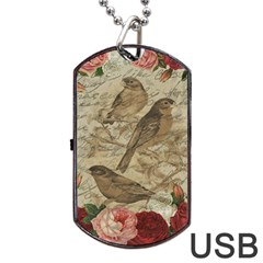 Vintage Birds Dog Tag Usb Flash (two Sides) by Valentinaart