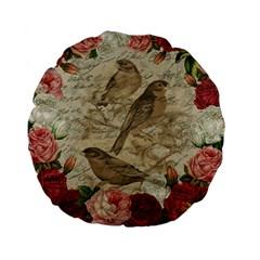 Vintage Birds Standard 15  Premium Flano Round Cushions by Valentinaart