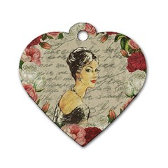 Vintage Girl Dog Tag Heart (two Sides) by Valentinaart