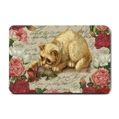 Vintage Kitten  Small Doormat  by Valentinaart