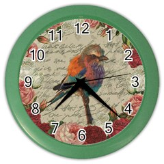 Vintage Bird Color Wall Clocks by Valentinaart