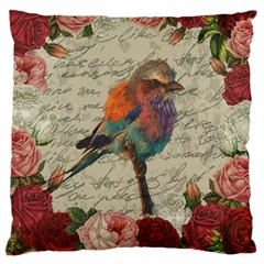 Vintage Bird Large Cushion Case (two Sides) by Valentinaart