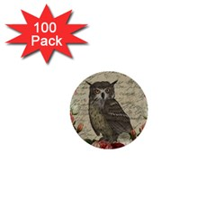 Vintage Owl 1  Mini Buttons (100 Pack)  by Valentinaart