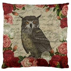 Vintage Owl Large Cushion Case (one Side) by Valentinaart