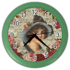 Vintage Girl Color Wall Clocks by Valentinaart