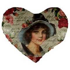 Vintage Girl Large 19  Premium Flano Heart Shape Cushions by Valentinaart