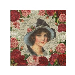 Vintage Girl Small Satin Scarf (square) by Valentinaart