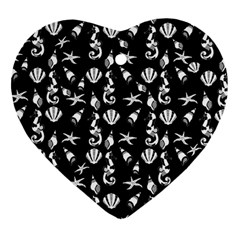 Seahorse Pattern Heart Ornament (two Sides) by Valentinaart