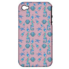 Seahorse Pattern Apple Iphone 4/4s Hardshell Case (pc+silicone) by Valentinaart