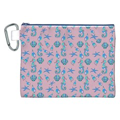 Seahorse Pattern Canvas Cosmetic Bag (xxl) by Valentinaart