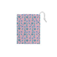 Seahorse Pattern Drawstring Pouches (xs)  by Valentinaart