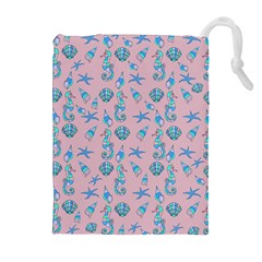 Seahorse Pattern Drawstring Pouches (extra Large) by Valentinaart