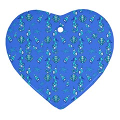Seahorse Pattern Ornament (heart) by Valentinaart