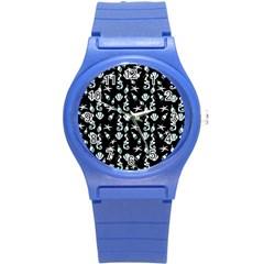 Seahorse Pattern Round Plastic Sport Watch (s) by Valentinaart