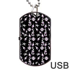 Seahorse Pattern Dog Tag Usb Flash (one Side) by Valentinaart