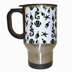 Seahorse Pattern Travel Mugs (white) by Valentinaart