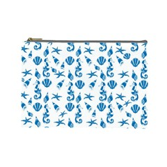 Seahorse Pattern Cosmetic Bag (large)  by Valentinaart