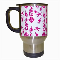 Seahorse Pattern Travel Mugs (white) by Valentinaart