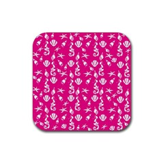 Seahorse Pattern Rubber Square Coaster (4 Pack)  by Valentinaart