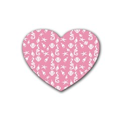 Seahorse Pattern Rubber Coaster (heart)  by Valentinaart