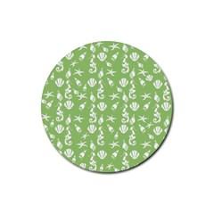 Seahorse Pattern Rubber Coaster (round)  by Valentinaart