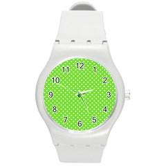 Polka Dots Round Plastic Sport Watch (m) by Valentinaart