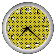 Polka Dots Wall Clocks (silver)  by Valentinaart