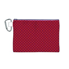 Polka Dots Canvas Cosmetic Bag (m) by Valentinaart