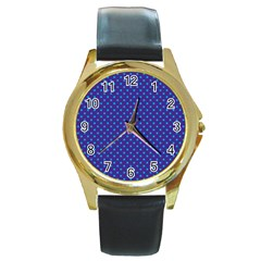 Polka Dots Round Gold Metal Watch by Valentinaart