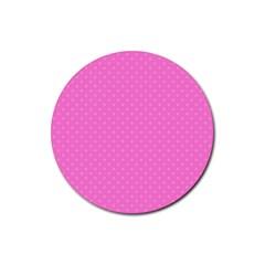 Polka Dots Rubber Coaster (round)  by Valentinaart