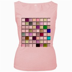 Color Tiles Abstract Mosaic Background Women s Pink Tank Top by Simbadda