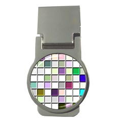 Color Tiles Abstract Mosaic Background Money Clips (round)  by Simbadda